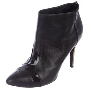Black leather Chanel round-toe ankle heel boots